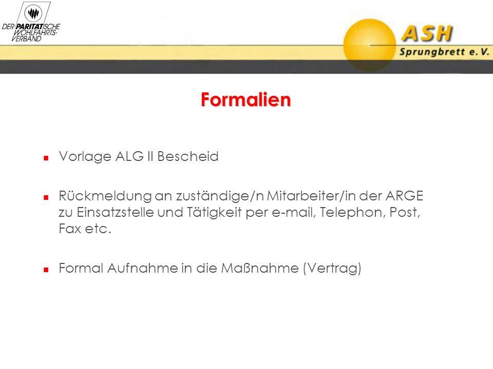 Formalien Vorlage ALG II Bescheid Rückmeldung an zuständige/n Mitarbeiter/in der ARGE zu Einsatzstelle und Tätigkeit per e-mail, Telephon, Post, Fax e