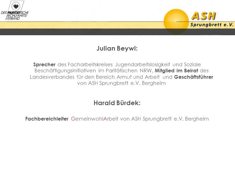 Julian Beywl: Sprecher des Facharbeitskreises Jugendarbeitslosigkeit und Soziale Beschäftigungsinitiativen im Paritätischen NRW, Mitglied im Beirat de