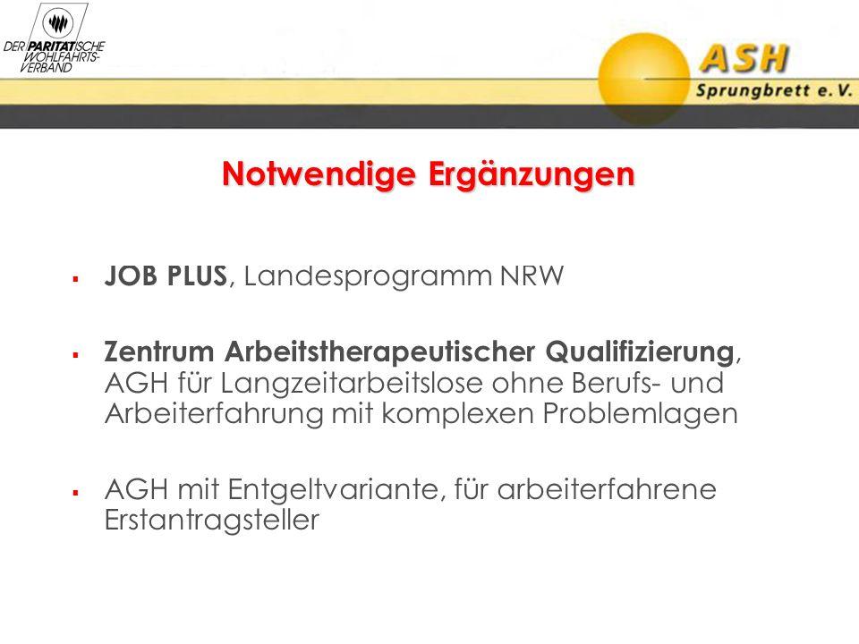 JOB PLUS, Landesprogramm NRW Zentrum Arbeitstherapeutischer Qualifizierung, AGH für Langzeitarbeitslose ohne Berufs- und Arbeiterfahrung mit komplexen