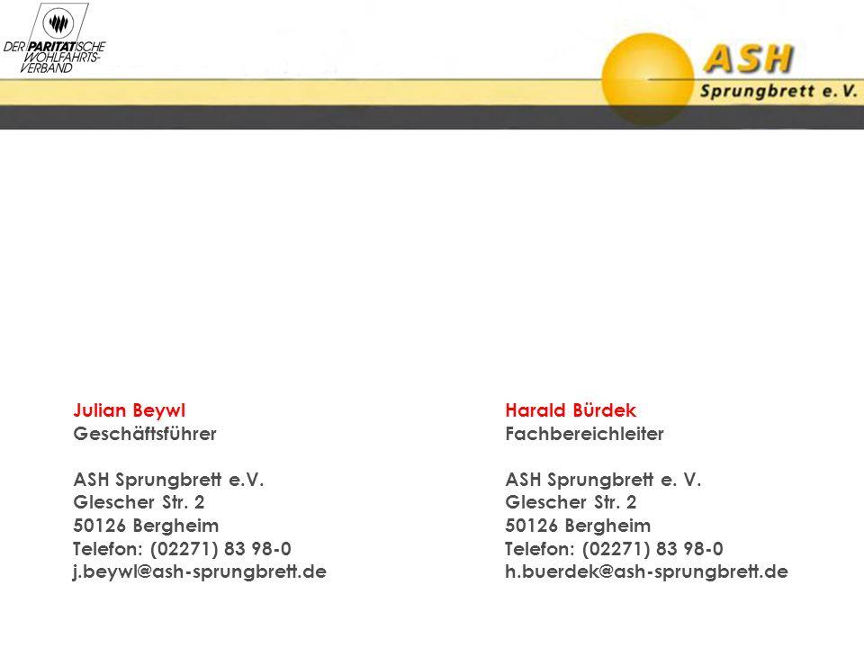 Julian Beywl Harald Bürdek GeschäftsführerFachbereichleiter ASH Sprungbrett e.V. ASH Sprungbrett e. V. Glescher Str. 2Glescher Str. 2 50126 Bergheim50