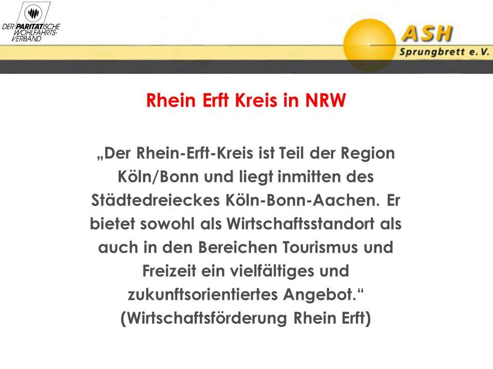 Rhein Erft Kreis in NRW Der Rhein-Erft-Kreis ist Teil der Region Köln/Bonn und liegt inmitten des Städtedreieckes Köln-Bonn-Aachen. Er bietet sowohl a
