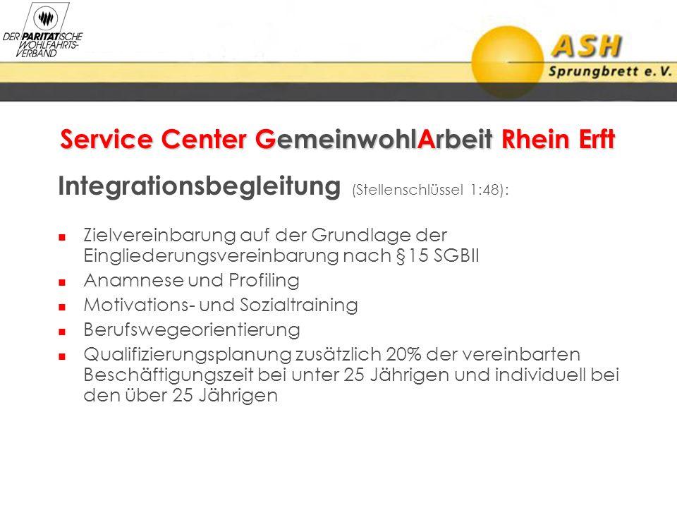 Service Center GemeinwohlArbeit Rhein Erft Integrationsbegleitung (Stellenschlüssel 1:48): Zielvereinbarung auf der Grundlage der Eingliederungsverein