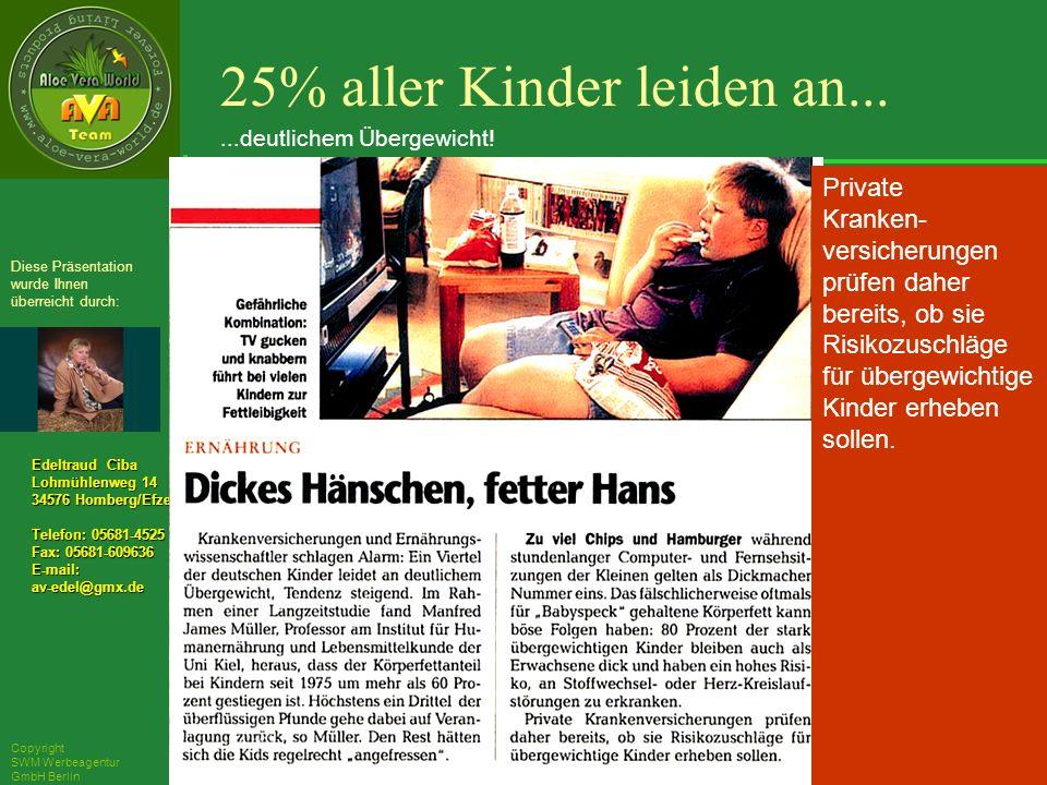 ´Richarz Mary Edeltraud Ciba Lohmühlenweg 14 34576 Homberg/Efze Telefon: 05681-4525 Fax: 05681-609636 E-mail:av-edel@gmx.de Diese Präsentation wurde Ihnen überreicht durch: Copyright SWM Werbeagentur GmbH Berlin Private Kranken- versicherungen prüfen daher bereits, ob sie Risikozuschläge für übergewichtige Kinder erheben sollen.
