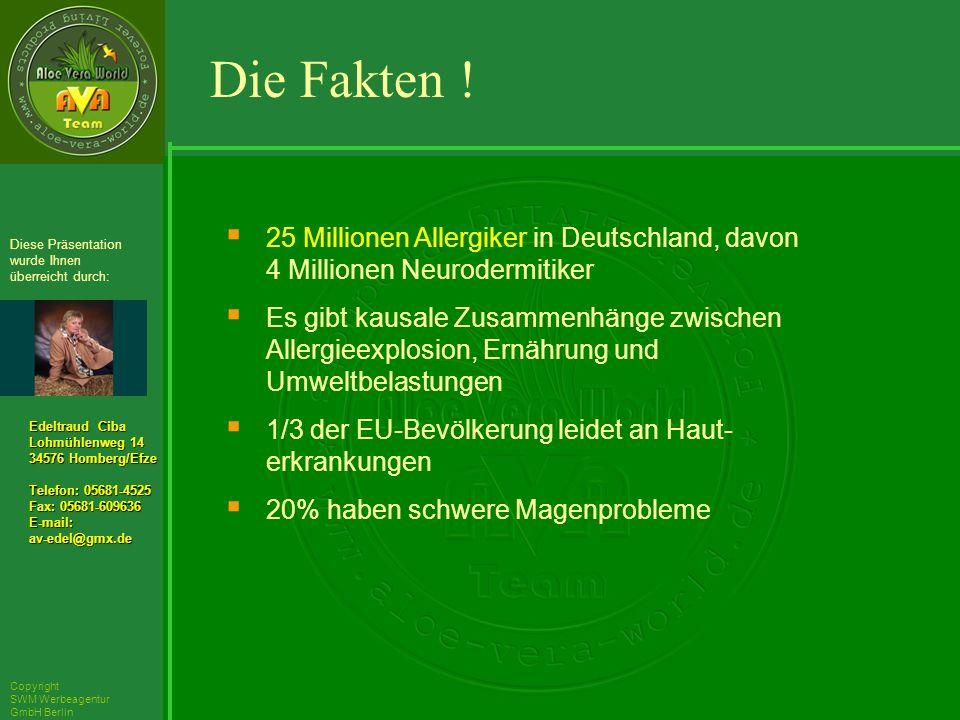 ´Richarz Mary Edeltraud Ciba Lohmühlenweg 14 34576 Homberg/Efze Telefon: 05681-4525 Fax: 05681-609636 E-mail:av-edel@gmx.de Diese Präsentation wurde Ihnen überreicht durch: Copyright SWM Werbeagentur GmbH Berlin 25 Millionen Allergiker in Deutschland, davon 4 Millionen Neurodermitiker Es gibt kausale Zusammenhänge zwischen Allergieexplosion, Ernährung und Umweltbelastungen 1/3 der EU-Bevölkerung leidet an Haut- erkrankungen 20% haben schwere Magenprobleme Die Fakten !