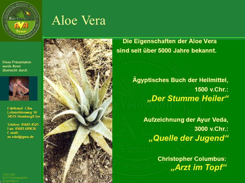 ´Richarz Mary Edeltraud Ciba Lohmühlenweg 14 34576 Homberg/Efze Telefon: 05681-4525 Fax: 05681-609636 E-mail:av-edel@gmx.de Diese Präsentation wurde Ihnen überreicht durch: Copyright SWM Werbeagentur GmbH Berlin Die Eigenschaften der Aloe Vera sind seit über 5000 Jahre bekannt.