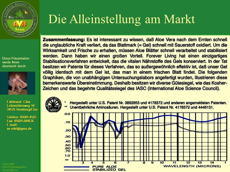 ´Richarz Mary Edeltraud Ciba Lohmühlenweg 14 34576 Homberg/Efze Telefon: 05681-4525 Fax: 05681-609636 E-mail:av-edel@gmx.de Diese Präsentation wurde Ihnen überreicht durch: Copyright SWM Werbeagentur GmbH Berlin Die Alleinstellung am Markt