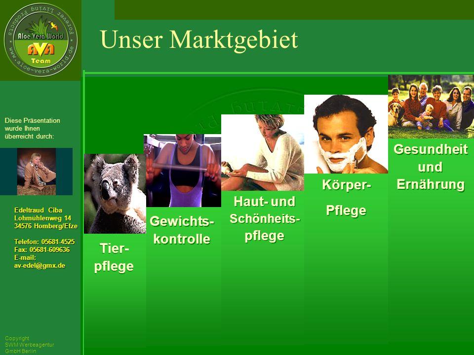 ´Richarz Mary Edeltraud Ciba Lohmühlenweg 14 34576 Homberg/Efze Telefon: 05681-4525 Fax: 05681-609636 E-mail:av-edel@gmx.de Diese Präsentation wurde Ihnen überreicht durch: Copyright SWM Werbeagentur GmbH Berlin Gewichts- kontrolle Haut- und Schönheits- pflege Körper- Pflege Körper- Pflege Gesundheit und Ernährung Unser Marktgebiet Tier- pflege