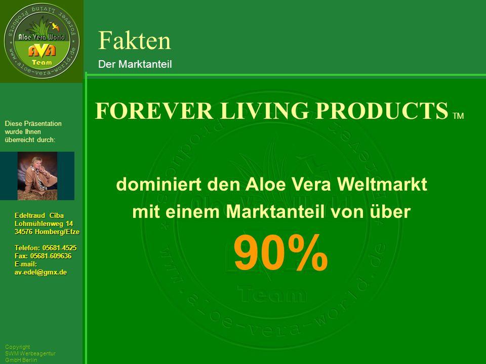 ´Richarz Mary Edeltraud Ciba Lohmühlenweg 14 34576 Homberg/Efze Telefon: 05681-4525 Fax: 05681-609636 E-mail:av-edel@gmx.de Diese Präsentation wurde Ihnen überreicht durch: Copyright SWM Werbeagentur GmbH Berlin dominiert den Aloe Vera Weltmarkt mit einem Marktanteil von über 90% FOREVER LIVING PRODUCTS TM Fakten Der Marktanteil