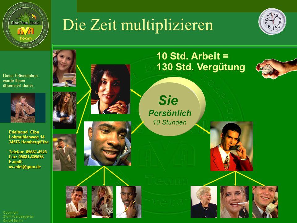 ´Richarz Mary Edeltraud Ciba Lohmühlenweg 14 34576 Homberg/Efze Telefon: 05681-4525 Fax: 05681-609636 E-mail:av-edel@gmx.de Diese Präsentation wurde Ihnen überreicht durch: Copyright SWM Werbeagentur GmbH Berlin Sie Persönlich 10 Stunden 10 Std.