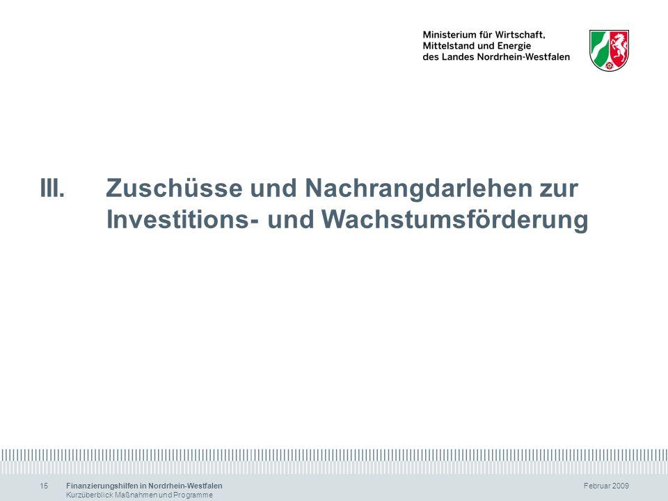 Finanzierungshilfen in Nordrhein-Westfalen Februar 2009 Kurzüberblick Maßnahmen und Programme 15 III.Zuschüsse und Nachrangdarlehen zur Investitions-