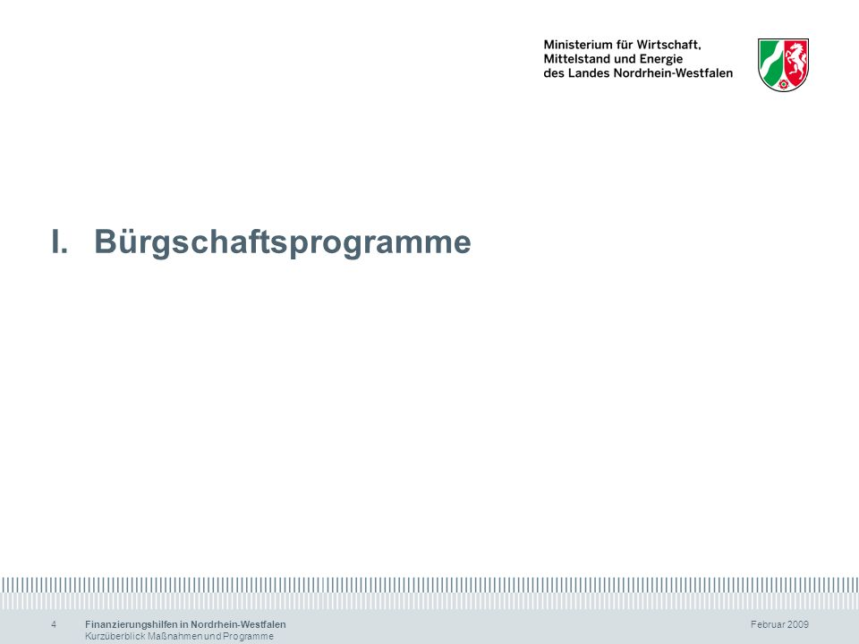 Finanzierungshilfen in Nordrhein-Westfalen Februar 2009 Kurzüberblick Maßnahmen und Programme 4 I.Bürgschaftsprogramme