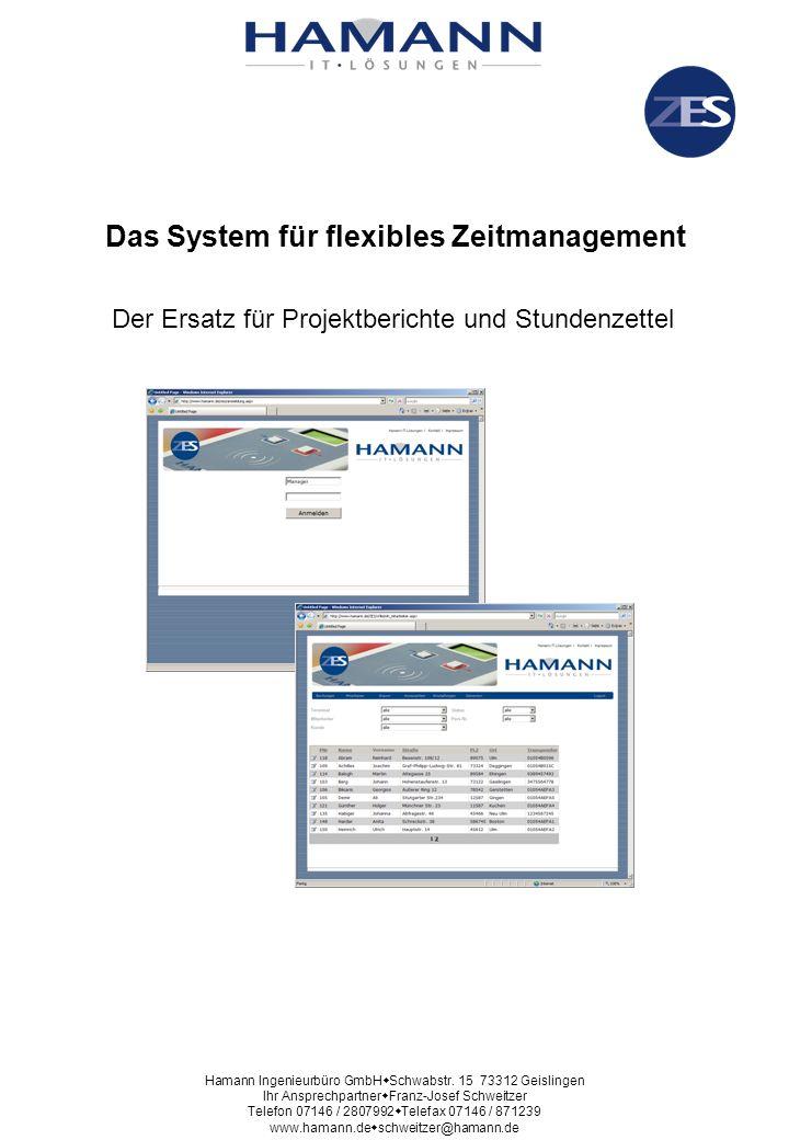 Größtmögliche Flexibilität durch WEB-Anwendung Die Verwaltung der Daten (Mitarbeiter, Buchungen u.s.w.) ist von jedem internetfähigen PC aus möglich Hamann Ingenieurbüro GmbH Schwabstr.