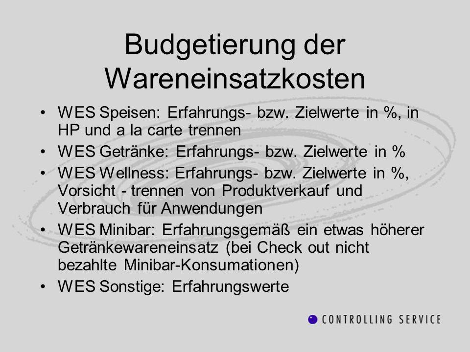 Budgetierung der Wareneinsatzkosten WES Speisen: Erfahrungs- bzw. Zielwerte in %, in HP und a la carte trennen WES Getränke: Erfahrungs- bzw. Zielwert