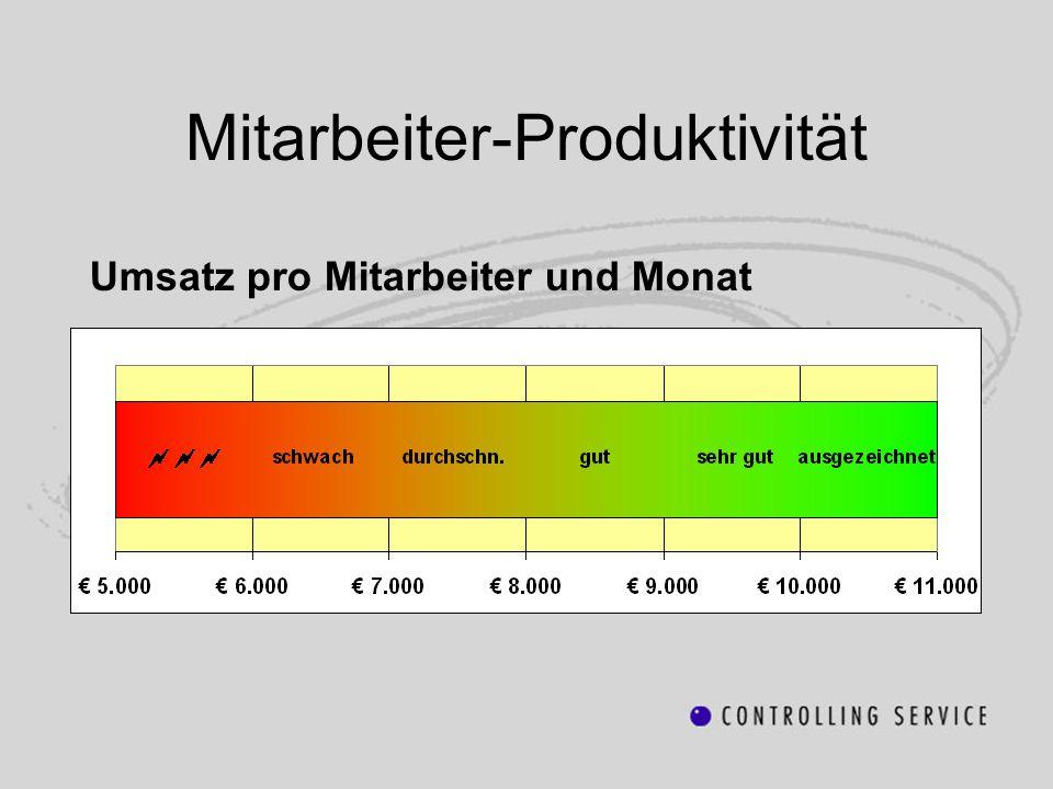 Mitarbeiter-Produktivität Umsatz pro Mitarbeiter und Monat