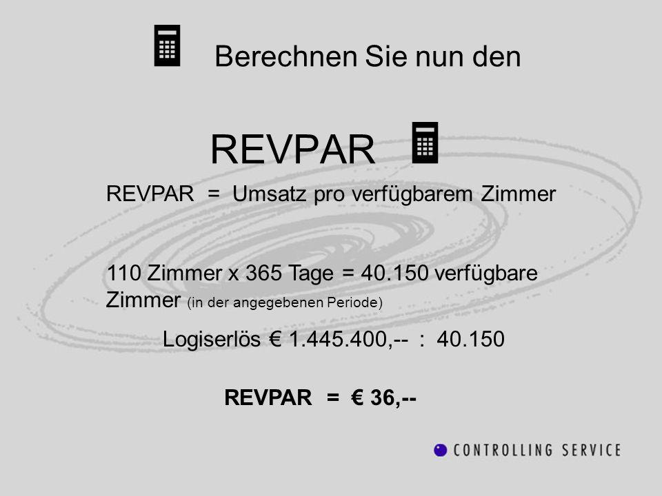 REVPAR = Umsatz pro verfügbarem Zimmer 110 Zimmer x 365 Tage = 40.150 verfügbare Zimmer (in der angegebenen Periode) Logiserlös 1.445.400,-- : 40.150