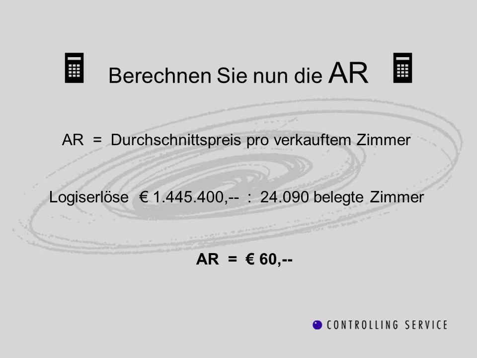 AR = Durchschnittspreis pro verkauftem Zimmer Logiserlöse 1.445.400,-- : 24.090 belegte Zimmer AR = 60,--