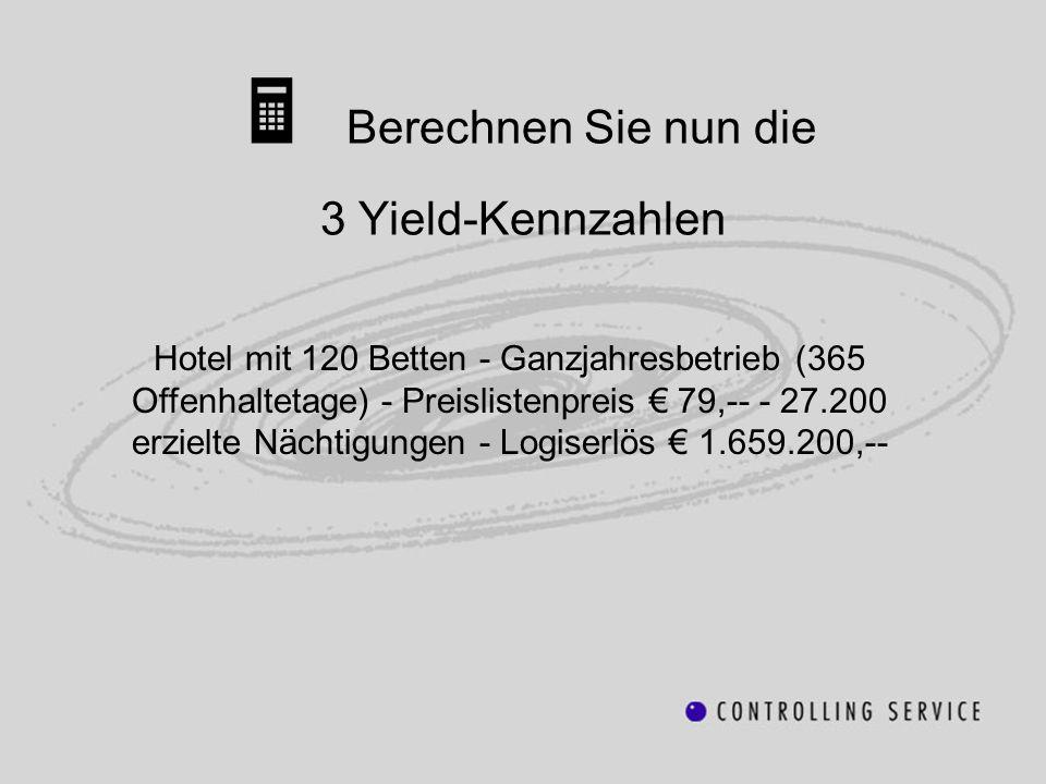 Berechnen Sie nun die 3 Yield-Kennzahlen Hotel mit 120 Betten - Ganzjahresbetrieb (365 Offenhaltetage) - Preislistenpreis 79,-- - 27.200 erzielte Näch