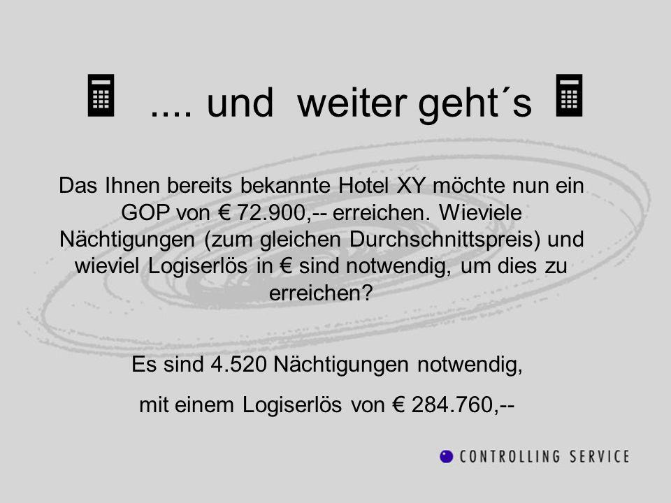 .... und weiter geht´s Das Ihnen bereits bekannte Hotel XY möchte nun ein GOP von 72.900,-- erreichen. Wieviele Nächtigungen (zum gleichen Durchschnit
