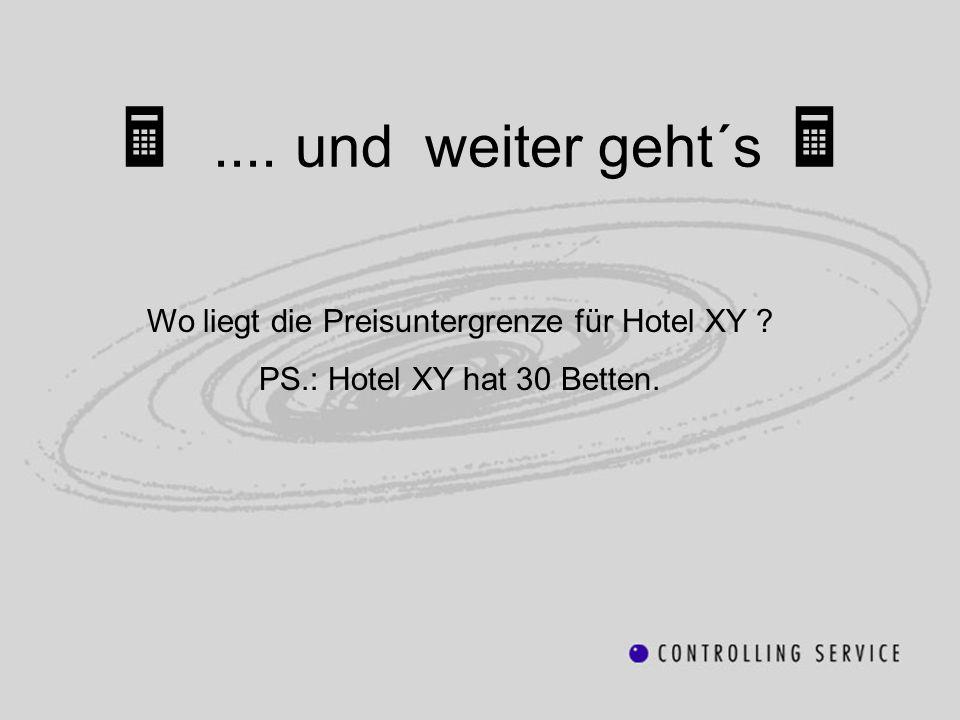.... und weiter geht´s Wo liegt die Preisuntergrenze für Hotel XY ? PS.: Hotel XY hat 30 Betten.