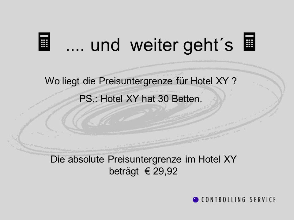 .... und weiter geht´s Wo liegt die Preisuntergrenze für Hotel XY ? PS.: Hotel XY hat 30 Betten. Die absolute Preisuntergrenze im Hotel XY beträgt 29,