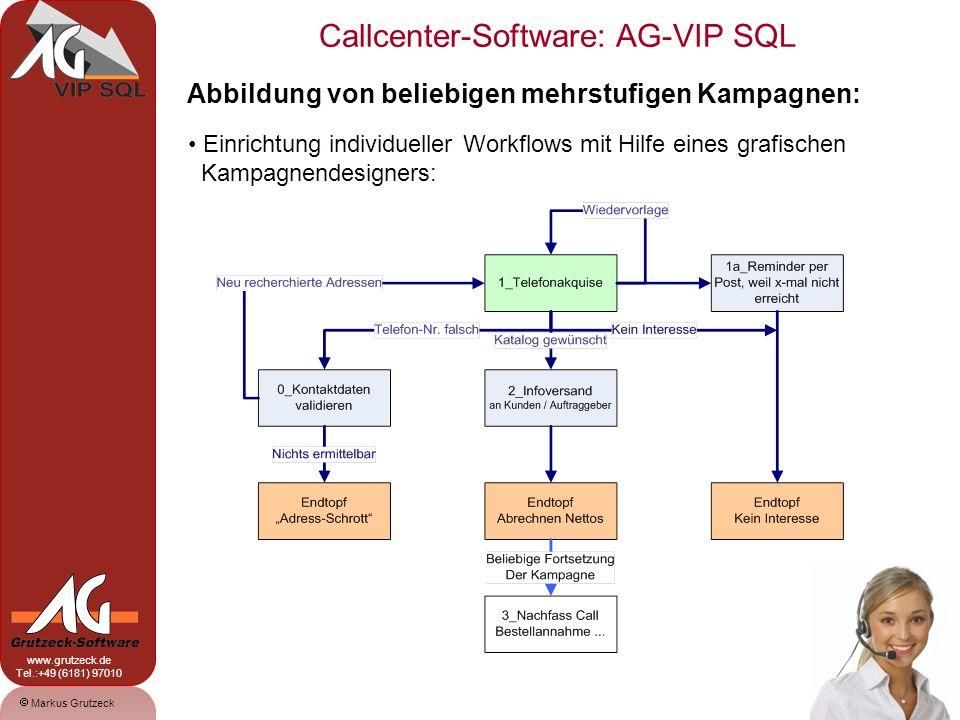 Markus Grutzeck www.grutzeck.de Tel.:+49 (6181) 97010 Callcenter-Software: AG-VIP SQL 8 Abbildung von mehrstufigen Kampagnen: Mitarbeiter lassen sich einzelnen Kampagnenstufen zuordnen Jederzeit Transparenz, wie viele Leads sich auf welcher Stufe befinden Doppelklick des Anwenders öffnet die Bearbeitung fälliger Vorgänge.