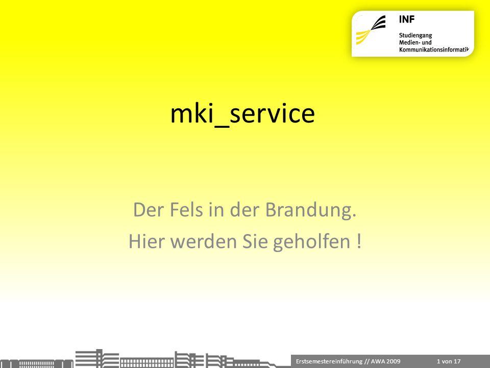 Erstsemestereinführung // AWA 2009 1 von 17 mki_service Der Fels in der Brandung. Hier werden Sie geholfen !