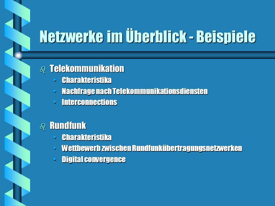 Netzwerke im Überblick - Beispiele b Telekommunikation CharakteristikaCharakteristika Nachfrage nach TelekommunikationsdienstenNachfrage nach Telekomm