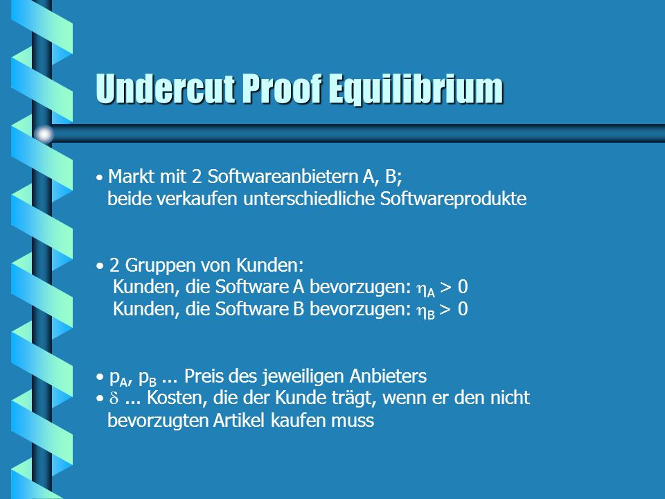 Undercut Proof Equilibrium Markt mit 2 Softwareanbietern A, B; beide verkaufen unterschiedliche Softwareprodukte 2 Gruppen von Kunden: Kunden, die Sof