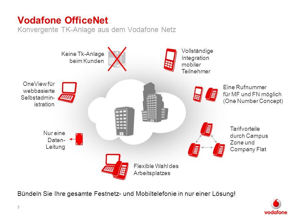 33 Vodafone OfficeNet Konvergente TK-Anlage aus dem Vodafone Netz 3 Bündeln Sie Ihre gesamte Festnetz- und Mobiltelefonie in nur einer Lösung! OneView