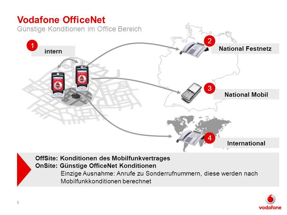 66 intern National Festnetz International National Mobil 1 2 3 4 OffSite: Konditionen des Mobilfunkvertrages OnSite: Günstige OfficeNet Konditionen Ei