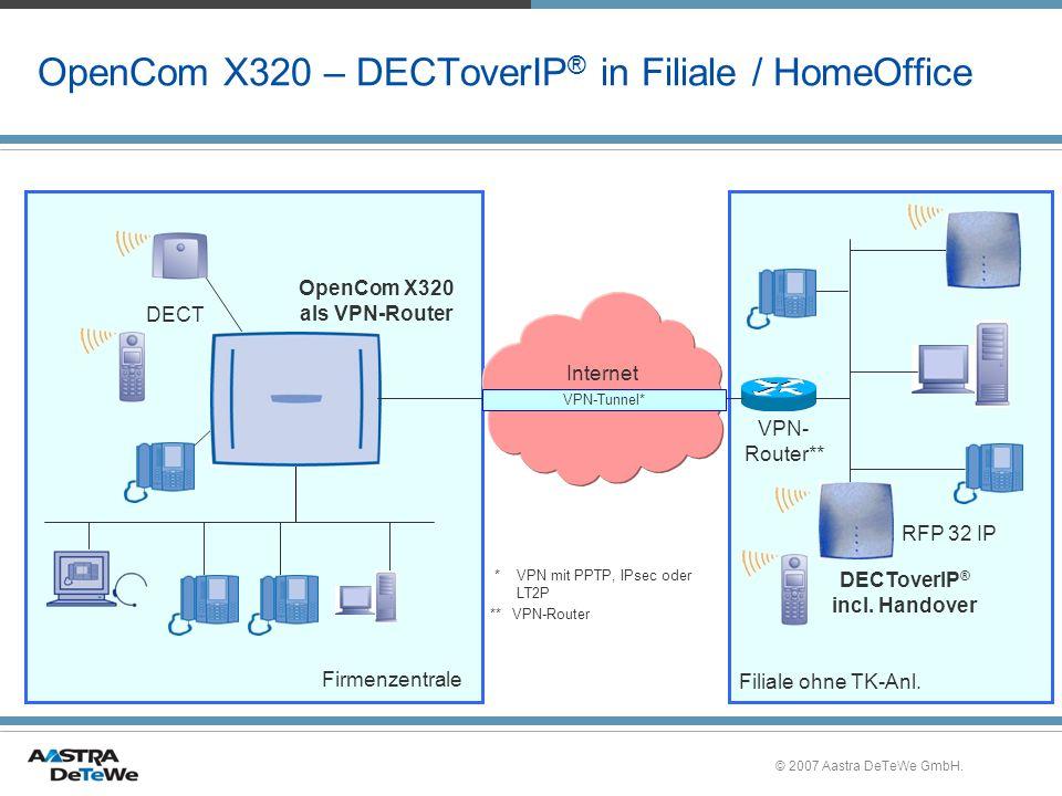© 2007 Aastra DeTeWe GmbH. OpenCom X320 – DECToverIP ® in Filiale / HomeOffice Internet RFP 32 IP DECT OpenCom X320 als VPN-Router VPN- Router** Filia