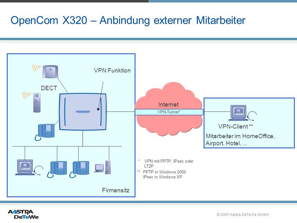 © 2007 Aastra DeTeWe GmbH. OpenCom X320 – Anbindung externer Mitarbeiter Internet DECT VPN Funktion VPN-Client ** Mitarbeiter im HomeOffice, Airport,