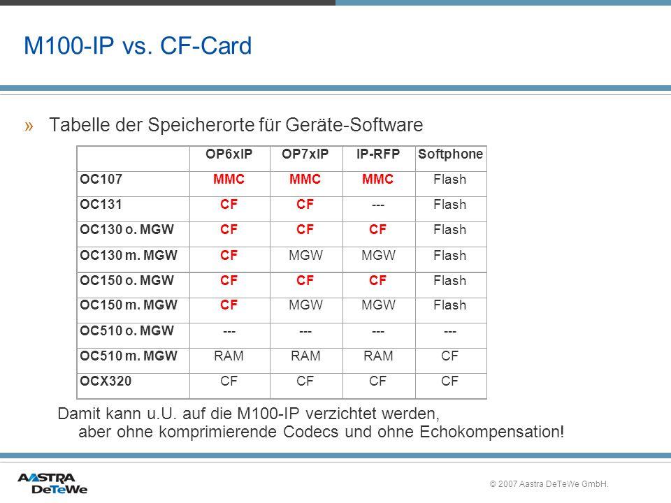 © 2007 Aastra DeTeWe GmbH. M100-IP vs. CF-Card »Tabelle der Speicherorte für Geräte-Software Damit kann u.U. auf die M100-IP verzichtet werden, aber o