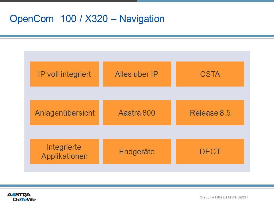 © 2007 Aastra DeTeWe GmbH. OpenCom 100 / X320 – Navigation IP voll integriertAlles über IPCSTA AnlagenübersichtAastra 800Release 8.5 Integrierte Appli