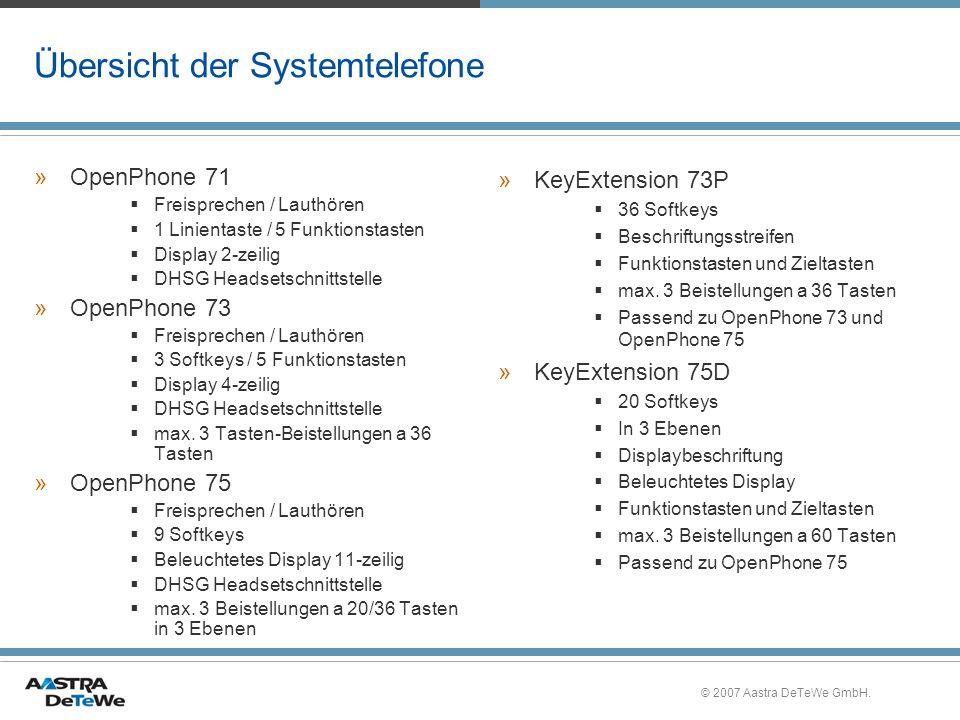 © 2007 Aastra DeTeWe GmbH. Übersicht der Systemtelefone »OpenPhone 71 Freisprechen / Lauthören 1 Linientaste / 5 Funktionstasten Display 2-zeilig DHSG