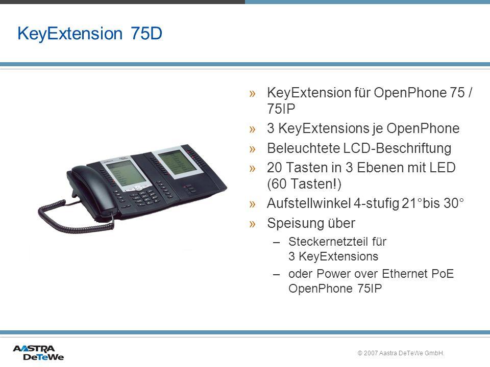 © 2007 Aastra DeTeWe GmbH. KeyExtension 75D »KeyExtension für OpenPhone 75 / 75IP »3 KeyExtensions je OpenPhone »Beleuchtete LCD-Beschriftung »20 Tast