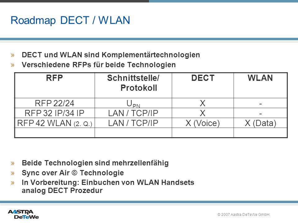 © 2007 Aastra DeTeWe GmbH. Roadmap DECT / WLAN »DECT und WLAN sind Komplementärtechnologien »Verschiedene RFPs für beide Technologien »Beide Technolog