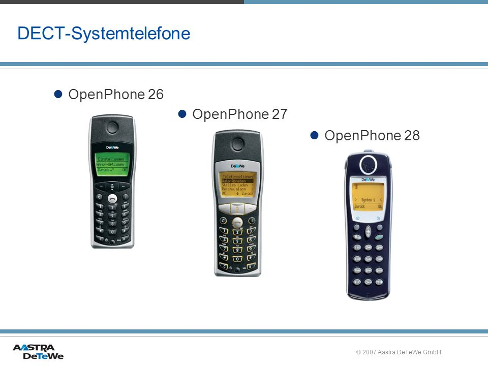 © 2007 Aastra DeTeWe GmbH. DECT-Systemtelefone OpenPhone 27 OpenPhone 26 OpenPhone 28