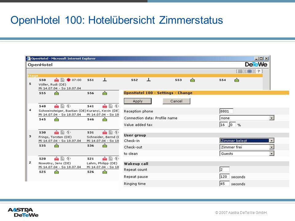 © 2007 Aastra DeTeWe GmbH. OpenHotel 100: Hotelübersicht Zimmerstatus