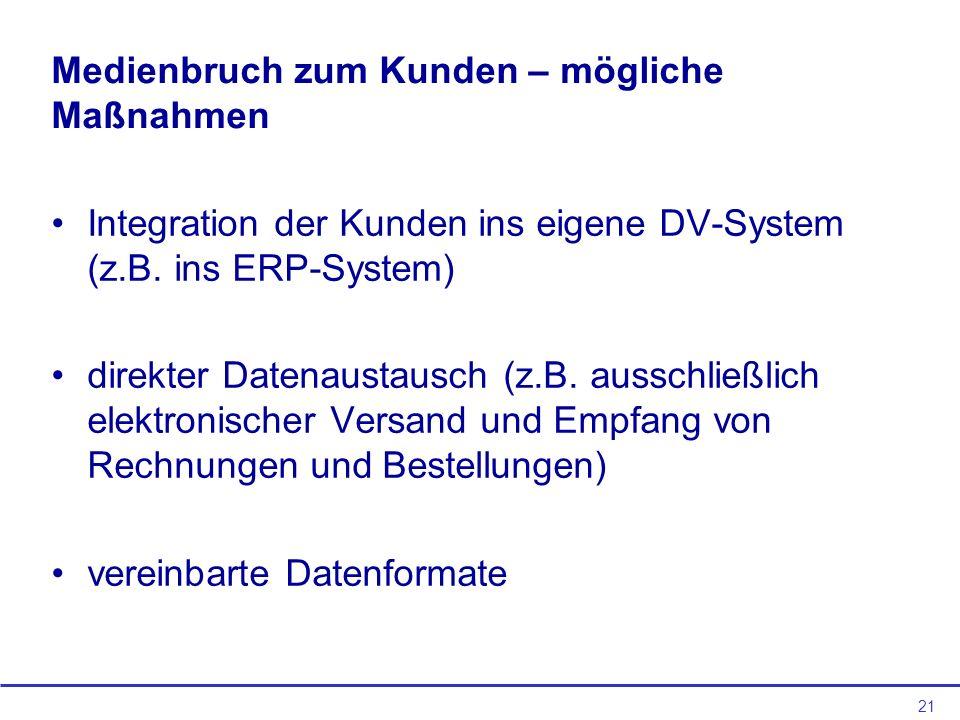 21 Medienbruch zum Kunden – mögliche Maßnahmen Integration der Kunden ins eigene DV-System (z.B. ins ERP-System) direkter Datenaustausch (z.B. ausschl