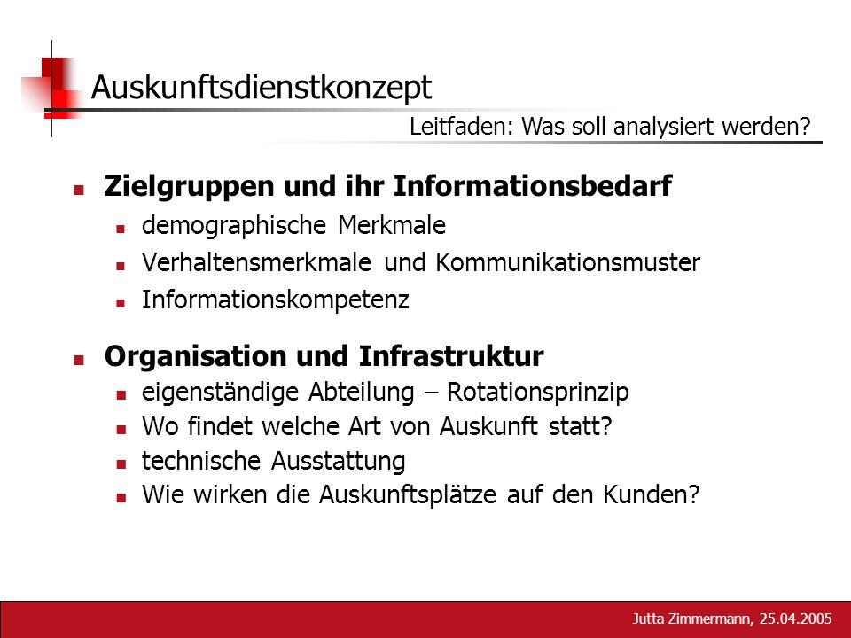 Jutta Zimmermann, 25.04.2005 Auskunftsdienstkonzept Leitfaden: Was soll analysiert werden? Zielgruppen und ihr Informationsbedarf demographische Merkm