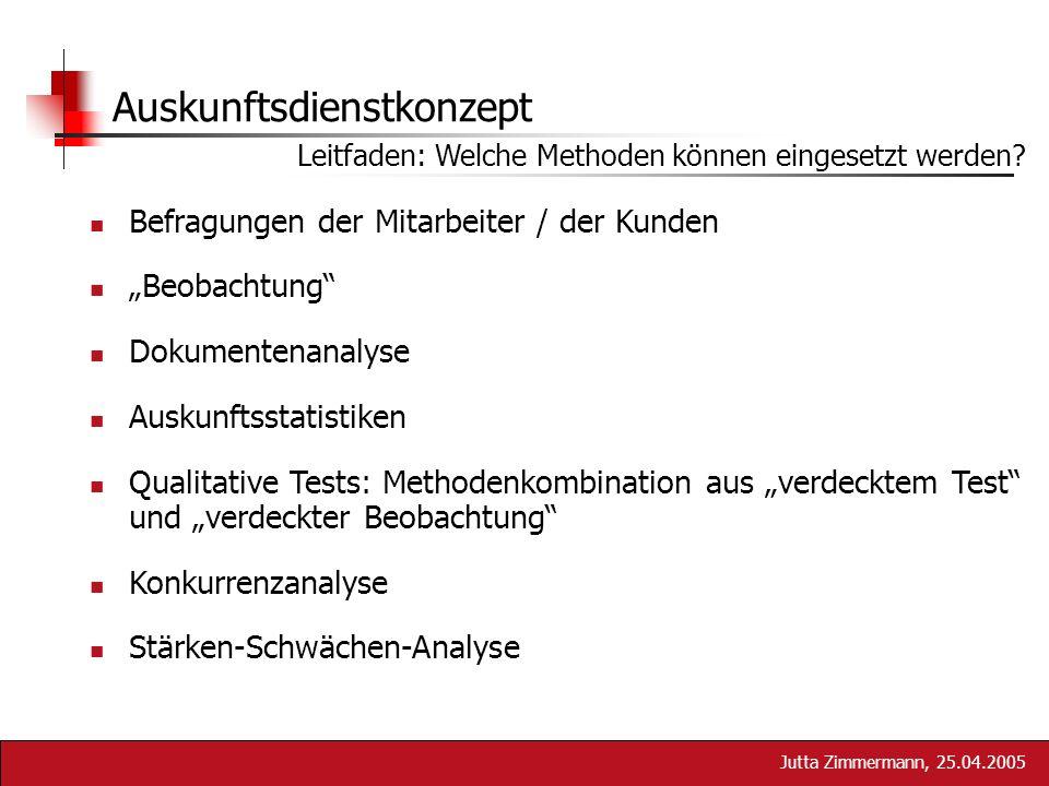 Jutta Zimmermann, 25.04.2005 Auskunftsdienstkonzept Leitfaden: Welche Methoden können eingesetzt werden? Befragungen der Mitarbeiter / der Kunden Beob