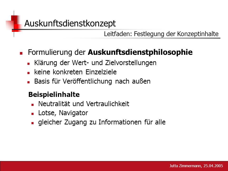 Jutta Zimmermann, 25.04.2005 Auskunftsdienstkonzept Klärung der Wert- und Zielvorstellungen keine konkreten Einzelziele Basis für Veröffentlichung nac