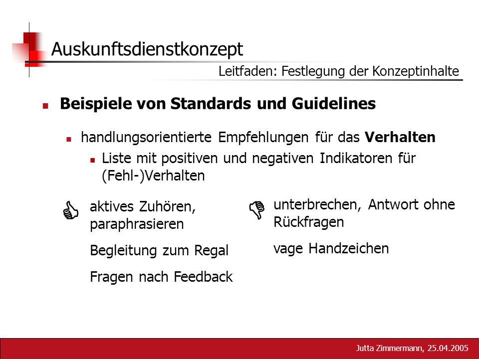 Jutta Zimmermann, 25.04.2005 Auskunftsdienstkonzept Beispiele von Standards und Guidelines handlungsorientierte Empfehlungen für das Verhalten Liste m