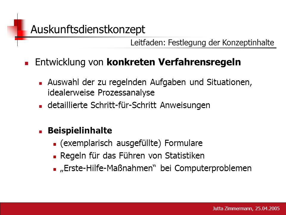 Jutta Zimmermann, 25.04.2005 Auskunftsdienstkonzept Entwicklung von konkreten Verfahrensregeln Auswahl der zu regelnden Aufgaben und Situationen, idea