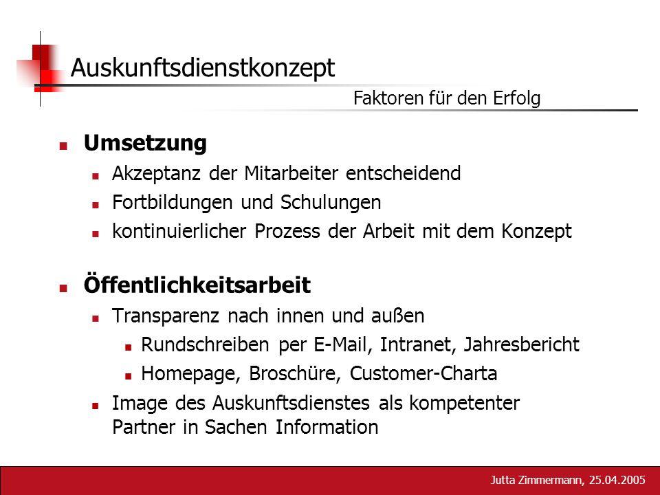 Jutta Zimmermann, 25.04.2005 Auskunftsdienstkonzept Faktoren für den Erfolg Umsetzung Akzeptanz der Mitarbeiter entscheidend Fortbildungen und Schulun