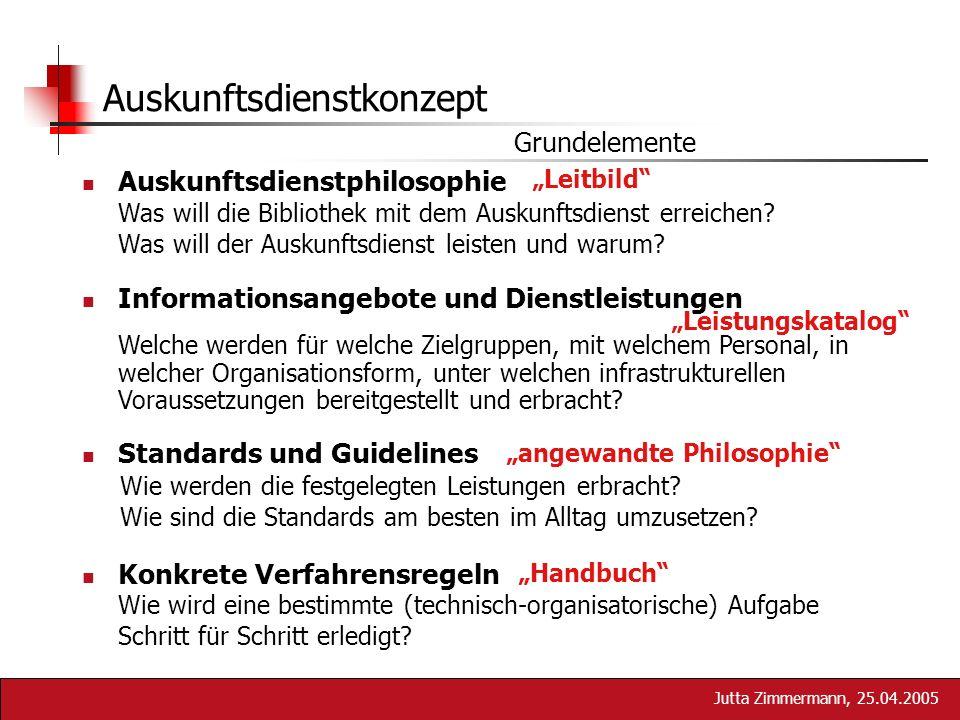 Jutta Zimmermann, 25.04.2005 Auskunftsdienstphilosophie Informationsangebote und Dienstleistungen Standards und Guidelines Konkrete Verfahrensregeln A