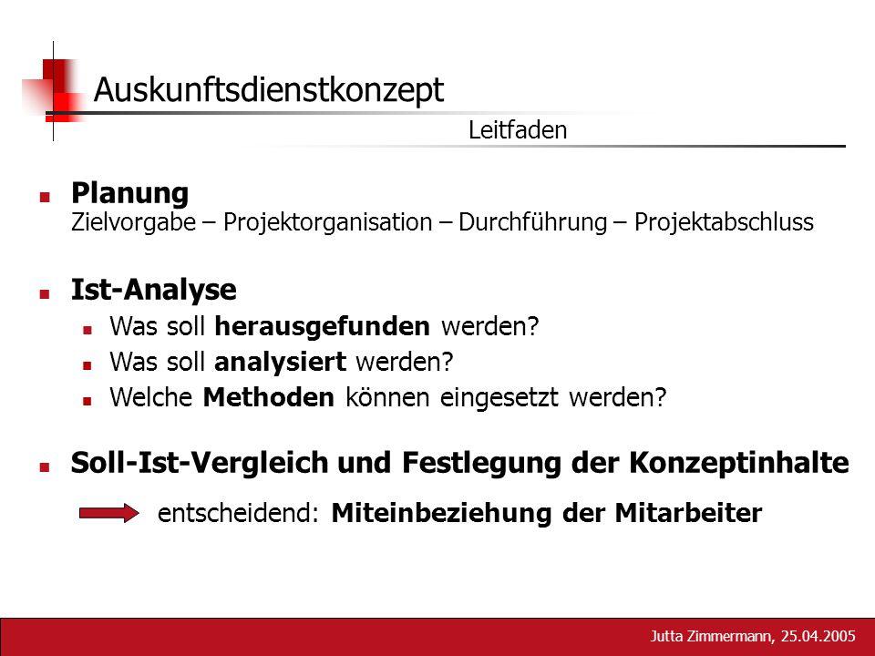 Jutta Zimmermann, 25.04.2005 Auskunftsdienstkonzept Leitfaden Planung Zielvorgabe – Projektorganisation – Durchführung – Projektabschluss Ist-Analyse