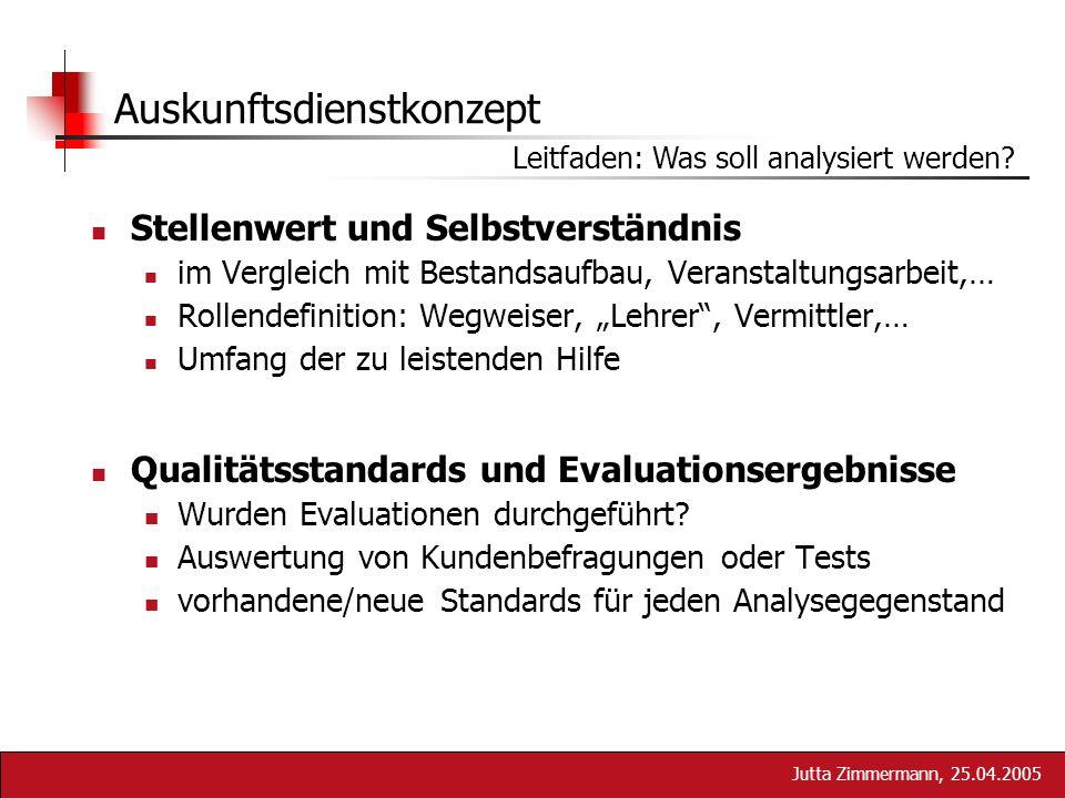 Jutta Zimmermann, 25.04.2005 Auskunftsdienstkonzept Leitfaden: Was soll analysiert werden? Stellenwert und Selbstverständnis im Vergleich mit Bestands