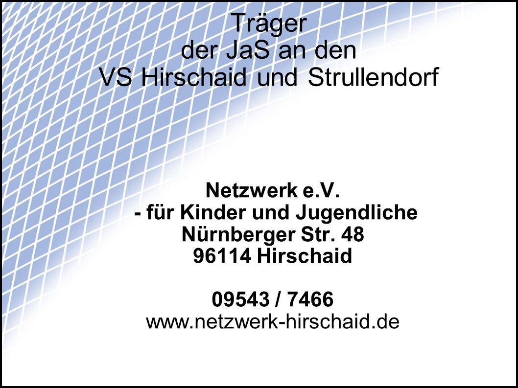 Träger der JaS an den VS Hirschaid und Strullendorf Netzwerk e.V. - für Kinder und Jugendliche Nürnberger Str. 48 96114 Hirschaid 09543 / 7466 www.net